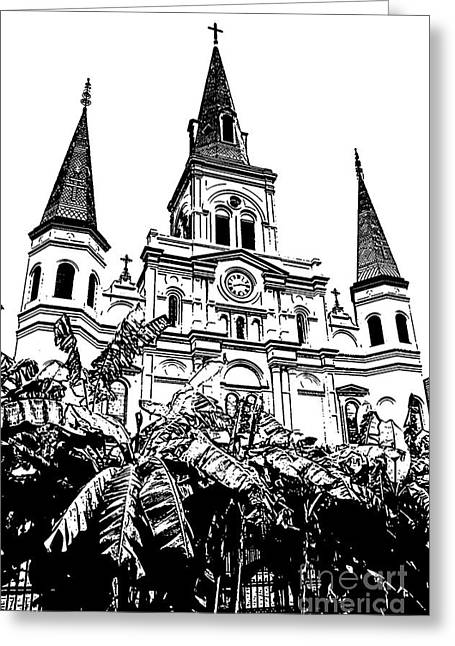 St Louis Cathedral Rising Above Palms Jackson Square New Orleans Stamp Digital Art Greeting Card by Shawn O'Brien