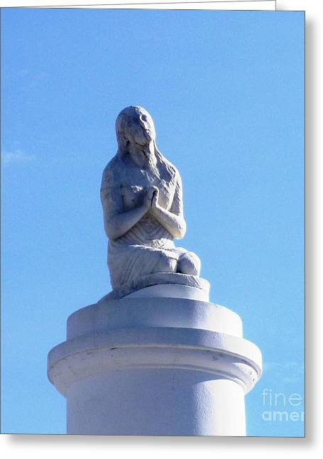 Greeting Card featuring the photograph St. Louis Cemetery Statue 1 by Alys Caviness-Gober