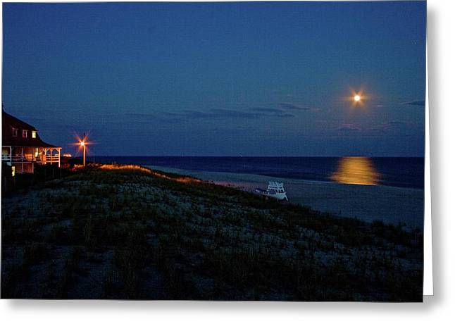 St Mary By Moonlight Greeting Card by Tom Singleton