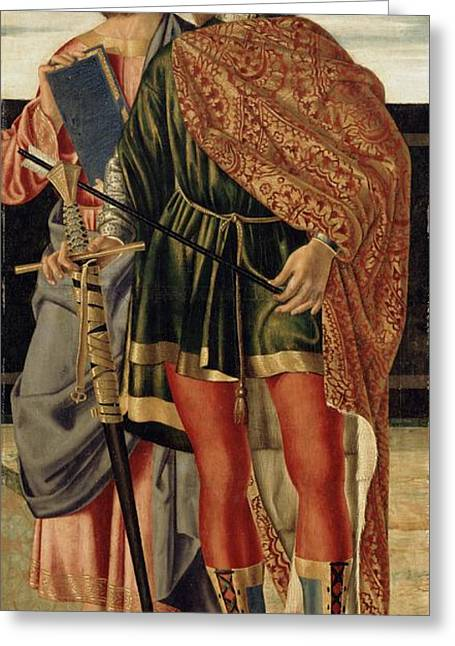 St Matthew And St Sebastian Greeting Card by Cristoforo Caselli