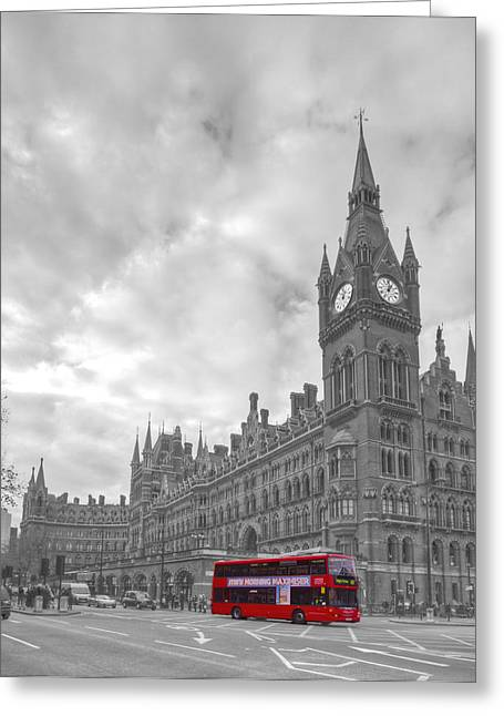 St Pancras Station Bw Greeting Card