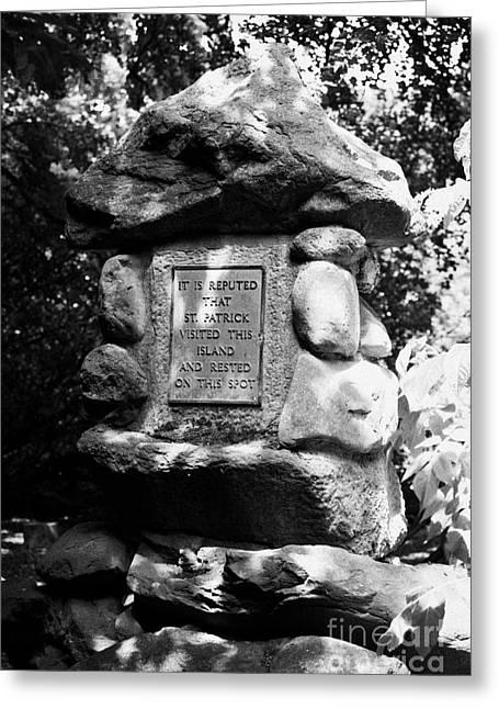 St Patricks Stone On Coney Island Lough Neagh Northern Ireland Uk Greeting Card