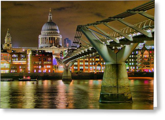 St Pauls Catherderal And Millennium Footbridge - Night - Hdr Greeting Card by Colin J Williams Photography