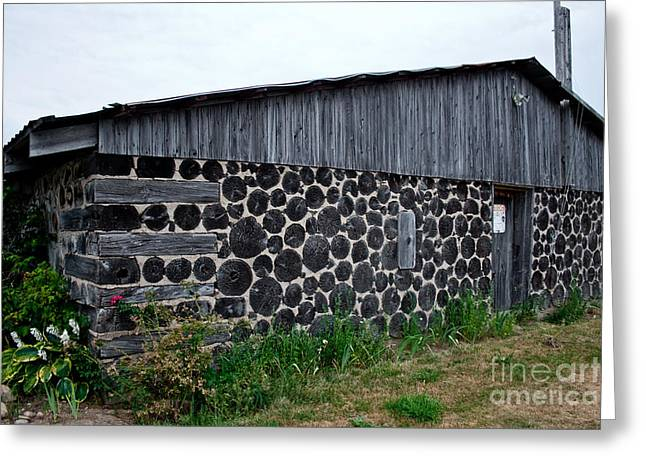 Greeting Card featuring the photograph Stacked Block Barn by Barbara McMahon