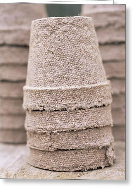 Stacked Peat Pots Greeting Card by Maxine Adcock