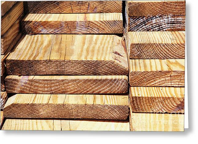 Stacked Wooden Planks Greeting Card by Skip Nall