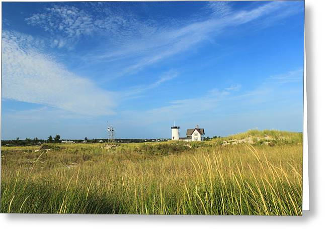 Stage Harbor Lighthouse Beach Grasses Cape Cod Chatham Greeting Card by John Burk