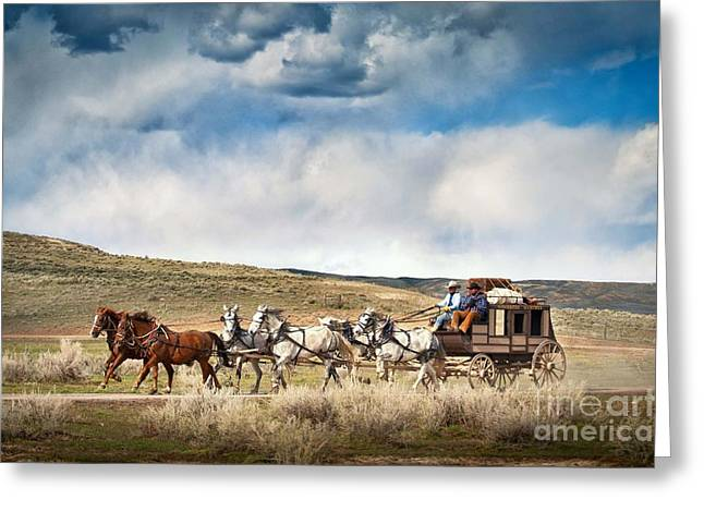 Stagecoach And Big Sky Country Greeting Card