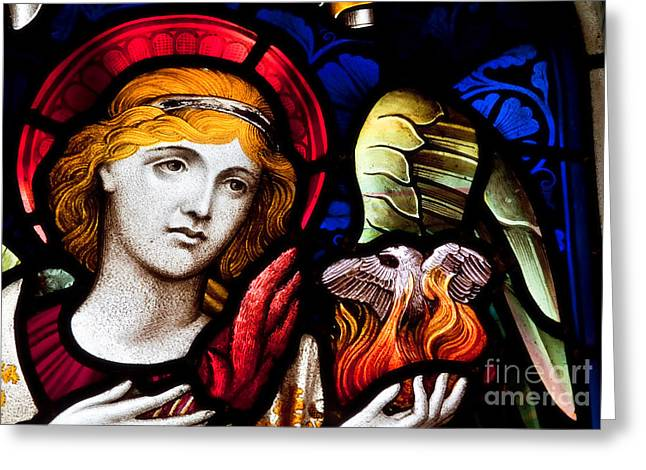Stained Glass Angel Greeting Card by Verena Matthew