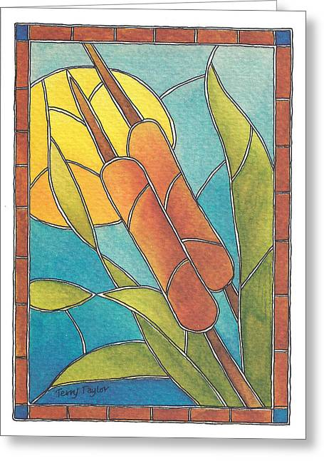 Stained Glass Cattails Greeting Card