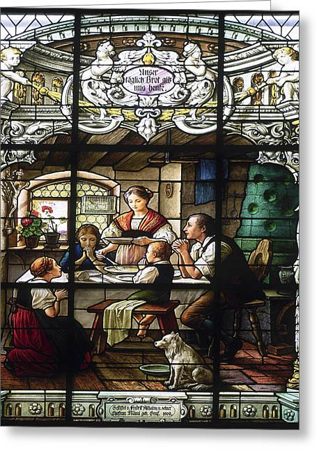 Stained Glass Family Giving Thanks Greeting Card by Sally Weigand