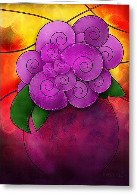 Stained Glass Florals Greeting Card by Melisa Meyers