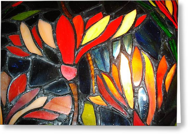 Stained Glass Four Greeting Card