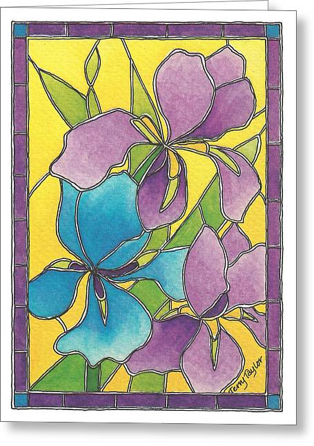 Stained Glass Iris Greeting Card