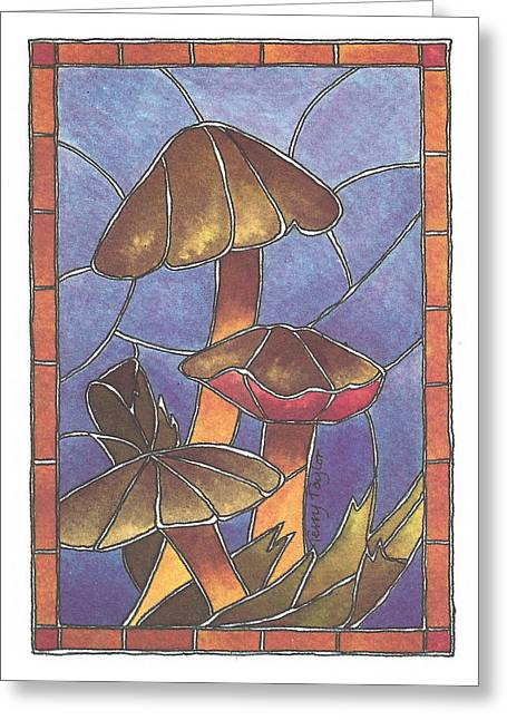 Stained Glass Mushrooms Greeting Card