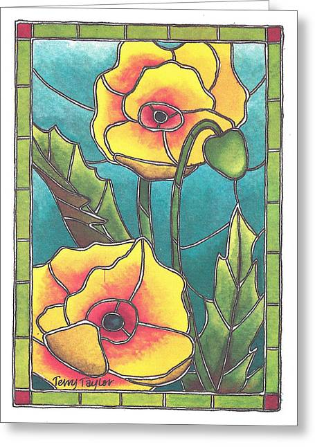 Stained Glass Poppies Greeting Card