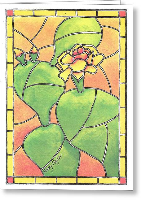 Stained Glass Prickly Pear Greeting Card