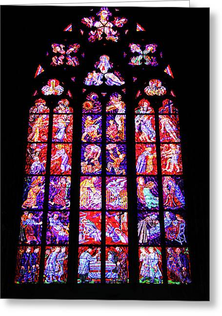 Stained Glass Window II Greeting Card by Mariola Bitner