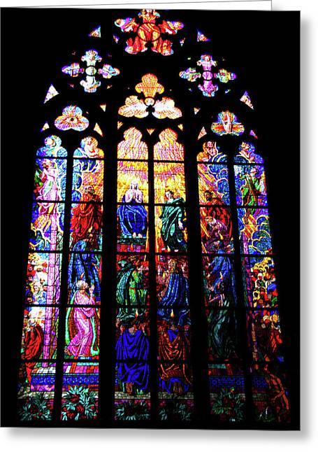 Stained Glass Window Greeting Card by Mariola Bitner
