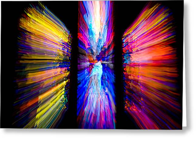 Stained Glass Windows Give Abstract Greeting Card by Stephen St. John