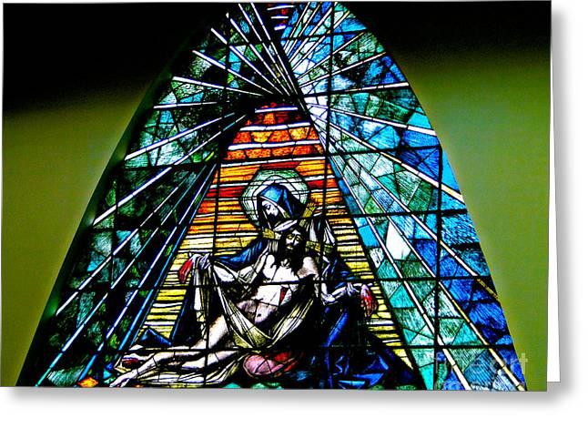 Stained La Pieta Greeting Card by Al Bourassa