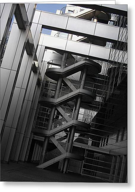 Stairs Fuji Building Greeting Card by Naxart Studio