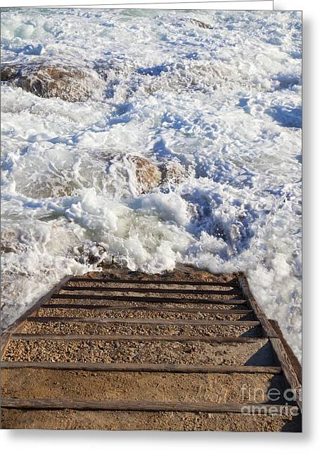 Stairway To Ocean Surf Greeting Card by David Buffington