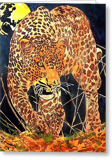 Stalking Leopard Greeting Card by Mike Holder