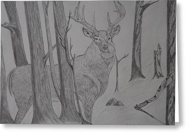 Greeting Card featuring the drawing Stand Off by Gerald Strine