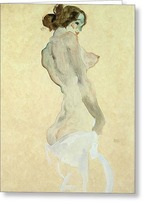 Standing Female Nude Greeting Card by Egon Schiele
