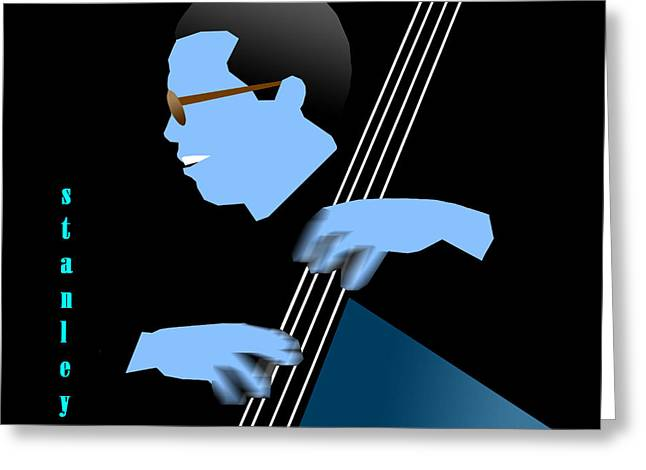 Stanley Clarke Blue Greeting Card by Victor Bailey