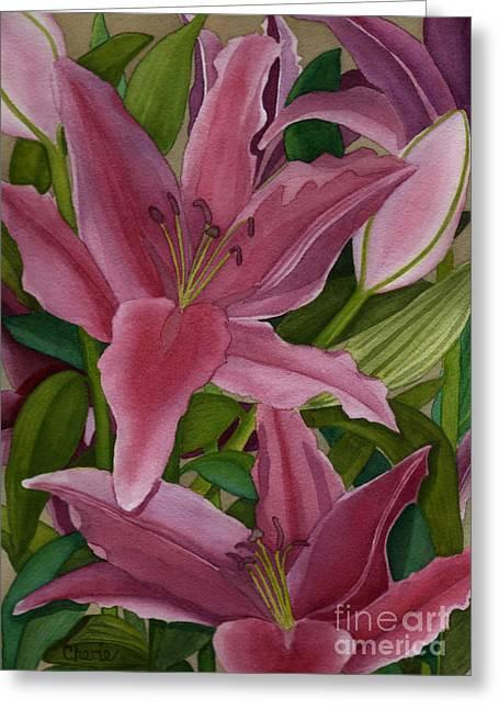 Star Gazer Lilies Greeting Card by Vikki Wicks