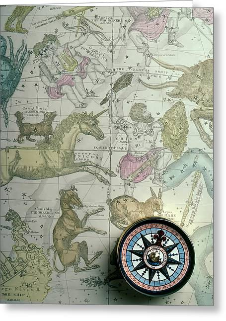 Star Map And Compass Greeting Card