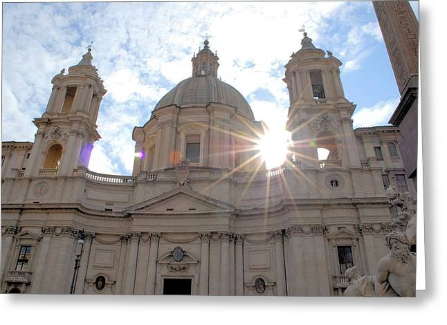 Star Over The Church Greeting Card by