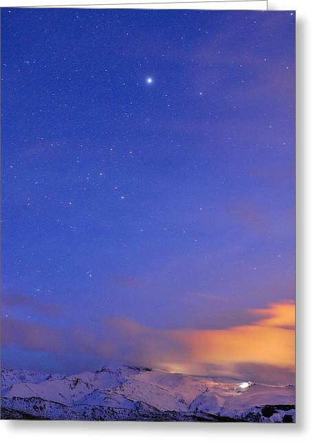 Star Sirius Over National Park Sierra Nevada At Sunset. Constelation Canis Mayor Greeting Card by Guido Montanes Castillo