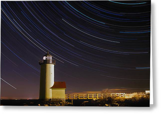 Star-trails Over Annisquam Lighthouse Greeting Card