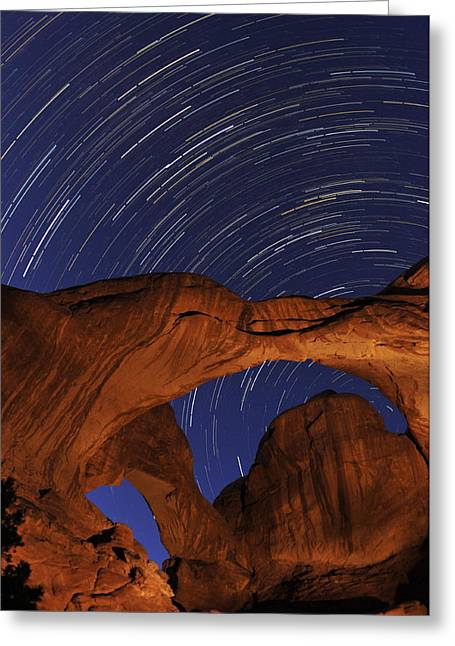 Star Trails Over Double Arch Greeting Card