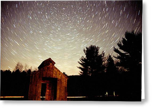 Greeting Card featuring the photograph Star Trails Over Sugar Shack by Rick Frost
