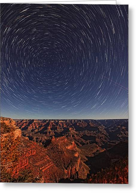 Star Trails Over The Grand Canyon Greeting Card by Robert Postma