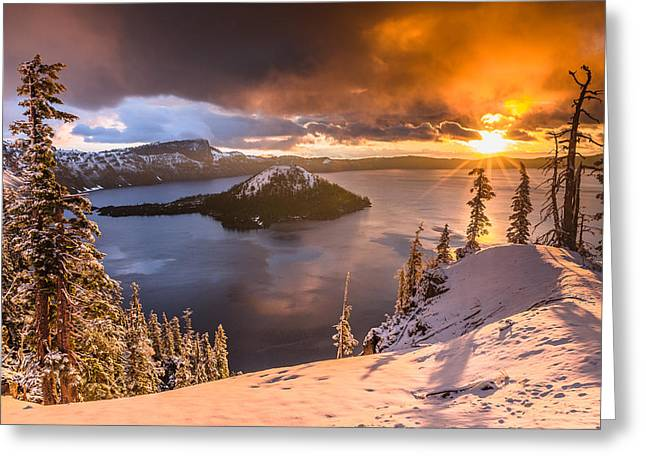 Starburst Sunrise At Crater Lake Greeting Card