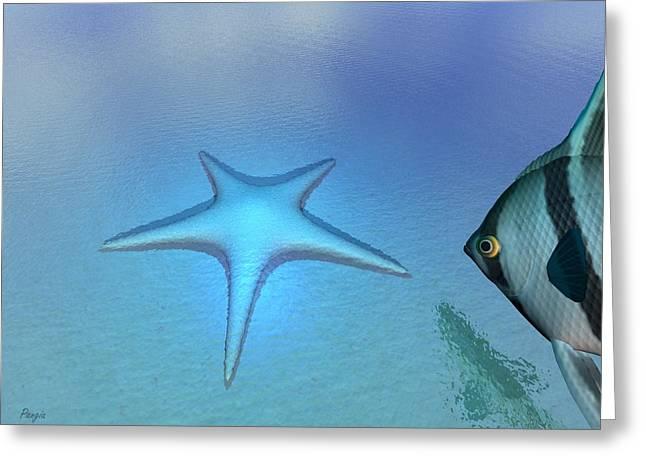 Greeting Card featuring the digital art Starfish by John Pangia