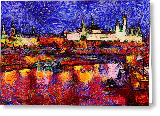 Starry Moscow Greeting Card by Yury Malkov