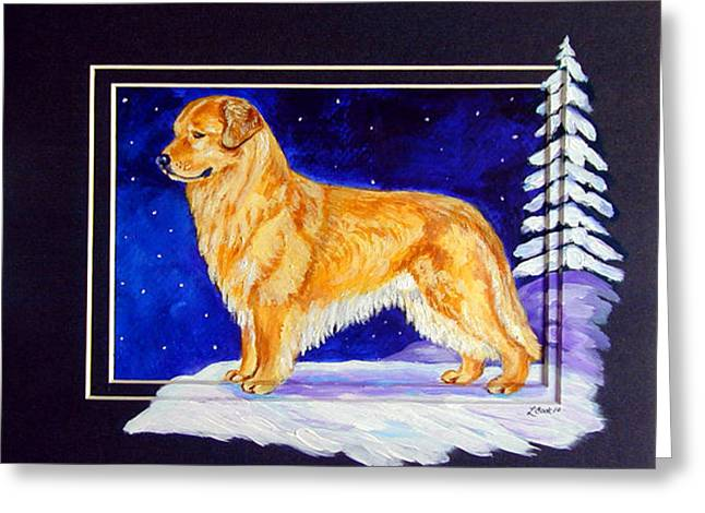 Starry Night - Golden Retriever - Original Greeting Card by Lyn Cook