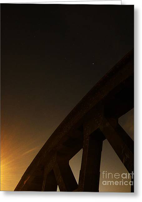 Greeting Card featuring the photograph Starry Night On Sunset Bridge by Andy Prendy