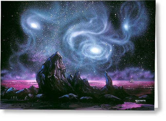 Starry Skies On Unknown Shores Greeting Card