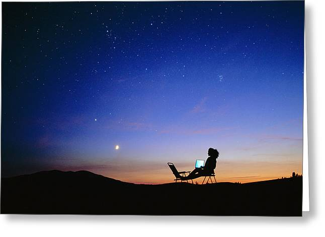 Starry Sky And Stargazer Greeting Card by David Nunuk