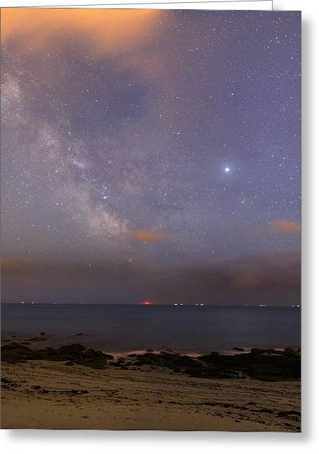 Stars And Jupiter In A Night Sky Greeting Card by Laurent Laveder