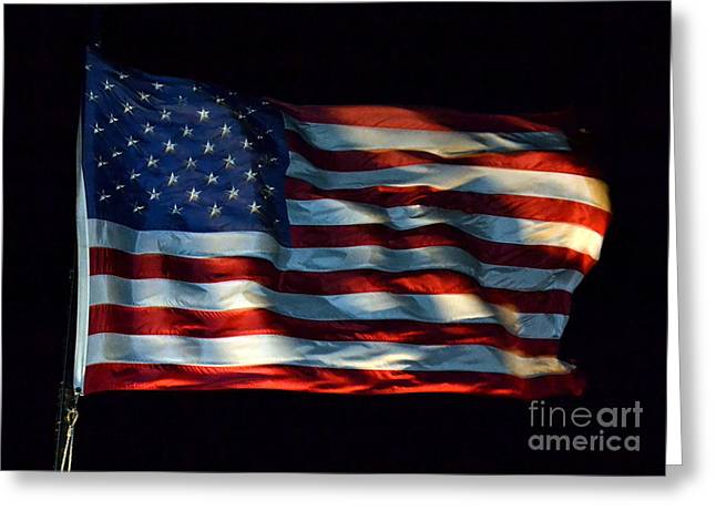 Stars And Stripes At Night Greeting Card by Kevin Fortier