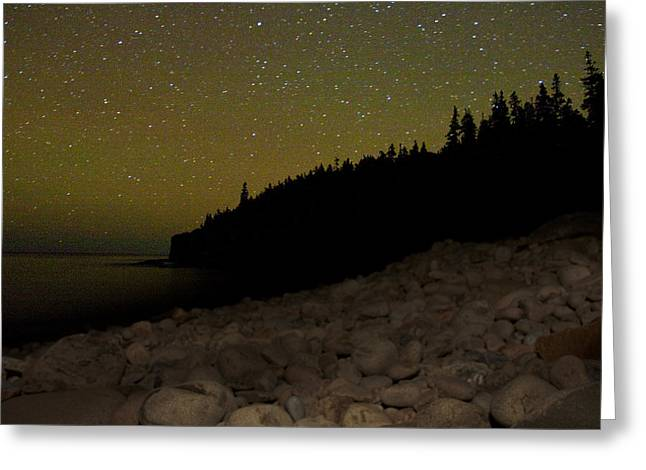 Greeting Card featuring the photograph Stars Over Otter Cliffs by Brent L Ander