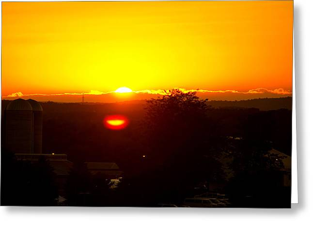State College Sun Set Greeting Card by Tom Gari Gallery-Three-Photography